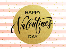 Free Happy Valentine Day Golden Striped Greeting Card Stock Photos - 84326803