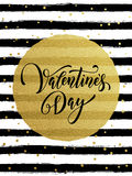Happy Valentine day golden striped greeting card. Gold Valentine Day calligraphy text with vector greeting card on white and black watercolor stripes background Royalty Free Stock Photography