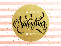 Happy Valentine day golden striped greeting card Stock Photos
