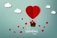 Happy Valentine day. Greeting card. Air balloon with hearts flying on the sky in origami style. Vector illustration in paper desig. Happy Valentine day. Greeting Royalty Free Stock Images