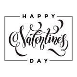 Happy Valentine day greeting card calligraphy Royalty Free Stock Image