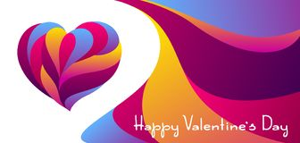 Happy Valentine Day greeting card. Colored heart shape. Love romantic background. weeding design stock illustration