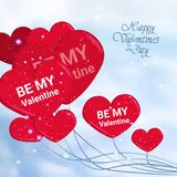Happy Valentine Day Greeting Card Love Holiday Background With Hand Drawn Text And Heart Shape Balloons In Sky. Vector Illustration Stock Photography