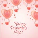 Happy Valentine day greeting - hearts, balloons stock illustration