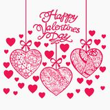 Happy Valentine day hand drawn background with Doodle Stock Photography