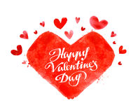 Happy Valentine day hand lettering - handmade calligraphy Royalty Free Stock Photos