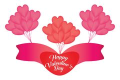 Happy valentine day. Vector with balloon Stock Images
