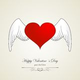Happy valentine day heart with angel wings. Red white Stock Photo