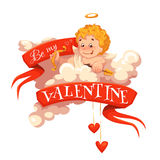 Happy valentine day. Heart with cherub. Vector illustration Royalty Free Stock Image