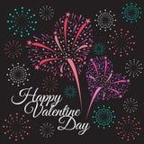 Happy valentine day - heart firework on black background Stock Photos