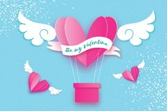 Happy Valentine day. Heart Pink hot air balloon flying. Love in paper cut style. Origami heart and angel wings. Winged. Heart. Ribbon tape for text. Romantic Stock Images