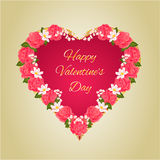 Happy Valentine day  heart and pink roses vector Stock Photos