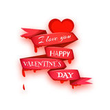 Happy valentine day. Heart with ribbon. Vector Royalty Free Stock Photography