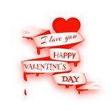 Happy valentine day. Heart with ribbon. Vector illustration Royalty Free Stock Image