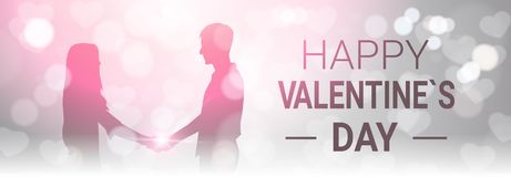 Happy Valentine Day Horizontal Banner Decoration Silhouette Couple Hold Hands Over Bokeh Glowing Background. Vector Illustration Royalty Free Stock Photography