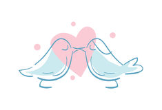 Happy valentine day icon with kissing birds. Happy valentine day isolated icon with kissing birds. Love and wedding romantic symbol, just married hand drawn Royalty Free Stock Photo