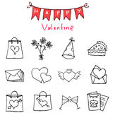 Happy Valentine Day icons vector art. Collection Royalty Free Stock Photography
