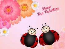 Happy Valentine day. Illustration of two ladybugs for Valentine day stock illustration