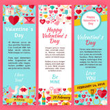 Happy Valentine Day Invitation Vector Template Flyer Set Stock Photo