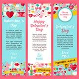 Happy Valentine Day Invitation Vector Template Flyer Set Stock Photo