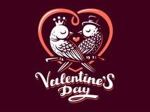 Happy Valentine Day Lettering with birds logo, vector illustration, emblem on dark background Stock Photo