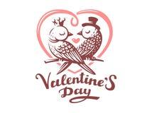 Happy Valentine Day Lettering with birds logo, vector illustration, emblem on white background Royalty Free Stock Photo