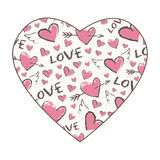 Happy Valentine Day pattern in the shape of heart. Vector cute hand drawn red hearts with angel wings and arrows. Royalty Free Stock Images