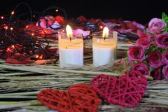 Happy Valentine day with phootoshoot flower, lamp and candle burning. Collection royalty free stock image