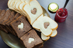 Happy Valentine Day. Photo love bread. bread valentine. photo love delicious slice of bread with strawberry jam sweetener. is suitable for decorating the nuances Stock Photography