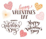 Happy Valentine day phrases. Happy Valentines Day text for greeting card. Romantic hearts with calligraphic phrases isolated on white background Stock Images