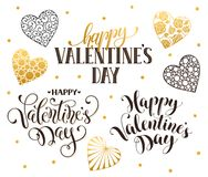 Happy Valentine day phrases. Happy Valentines Day text for greeting card. Romantic hearts with calligraphic phrases isolated on white background Royalty Free Stock Images
