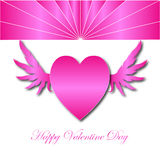 Happy Valentine Day with Pink  Heart wings Stock Image