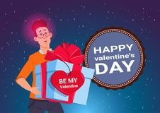 Happy Valentine Day Poster Young Man Holding Present Box With Heart Shape Sticker 14 February Holiday Concept. Flat Vector Illustration royalty free illustration
