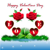 Happy Valentine Day with red heart and red rose Stock Images