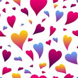 Happy Valentine Day seamless pattern. Colored hearts shape. Love romantic background. weeding design vector illustration