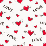 Happy Valentine Day seamless pattern. Vector cute hand drawn red hearts with angel wings and arrows. Stock Photos