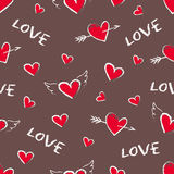 Happy Valentine Day seamless pattern. Vector cute hand drawn red hearts with angel wings and arrows. Stock Image