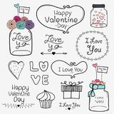 Happy Valentine Day. Set Of Vintage Retro Valentine Day Labels And Typography Elements. royalty free illustration