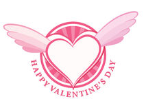 HAPPY Valentine day stamp with heart and wings Stock Photos