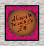 Happy valentine day typhography wooden engraving  background texture vintage style with rose in frame Royalty Free Stock Photography