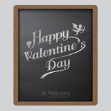 Happy valentine day typography drawing on chalkboard background texture vintage style Royalty Free Stock Image