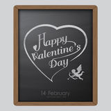 Happy valentine day typography drawing on chalkboard background texture vintage style Royalty Free Stock Photos