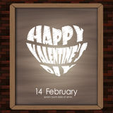 Happy valentine day typography drawing on chalkboard on brick wall background texture vintage style Royalty Free Stock Photo