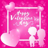 Happy valentine day, valentine`s day text with pink bokeh background. Vector illustrations for graphic design stock illustration