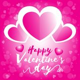 Happy valentine day, valentine`s day three heart white and pink  with pink bokeh background royalty free illustration