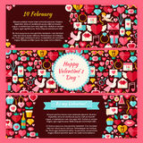 Happy Valentine Day Vector Horizontal Banners Flat Set. Happy Valentine Day Horizontal Banners Set. Flat Design Vector Illustration of Brand Identity for Love Vector Illustration