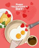 Happy Valentine Day vector illustration with lovely breakfast. With two eggs Stock Images