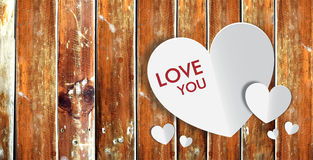 Happy Valentine Day with wood background Royalty Free Stock Photography