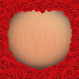 Happy valentine day with wooden background texture with red rose frame in vintage style Royalty Free Stock Photo