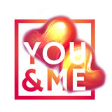 Happy valentine day. You and me. Two hearts with Royalty Free Stock Images